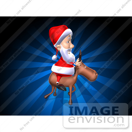 #60780 Royalty-Free (RF) Illustration Of A 3d Santa Riding A Reindeer - Version 4 by Julos