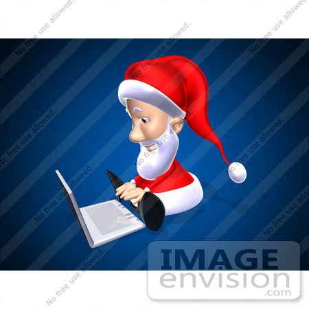 #60782 Royalty-Free (RF) Illustration Of A 3d Santa Using A Laptop - Version 1 by Julos