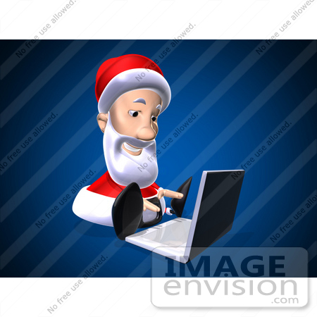 #60783 Royalty-Free (RF) Illustration Of A 3d Santa Using A Laptop - Version 8 by Julos