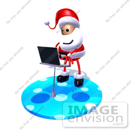 #60801 Royalty-Free (RF) Illustration Of A 3d Santa Claus Using A Laptop - Version 6 by Julos