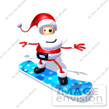 #60803 Royalty-Free (RF) Illustration Of A 3d Santa Claus Snowboarding - Version 4 by Julos