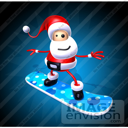 #60808 Royalty-Free (RF) Illustration of a 3d Santa Snowboarding - Version 1 by Julos