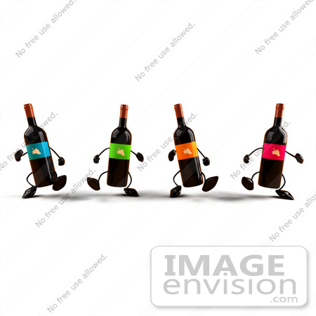 #60835 Royalty-Free (RF) Illustration Of A Group Of 3d Wine Bottle Characters Walking Forward - Version 1 by Julos