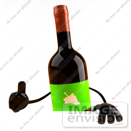 #60844 Royalty-Free (RF) Illustration Of A 3d Wine Bottle Character Giving The Thumbs Up And Standing Behind A Blank Sign by Julos