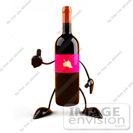 #60847 Royalty-Free (RF) Illustration Of A 3d Wine Bottle Character With A Pink Label, Giving The Thumbs Up by Julos
