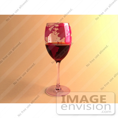 #60850 Royalty-Free (RF) Illustration Of A 3d Glass Of Red Wine With World Continents Printed On The Glasss by Julos