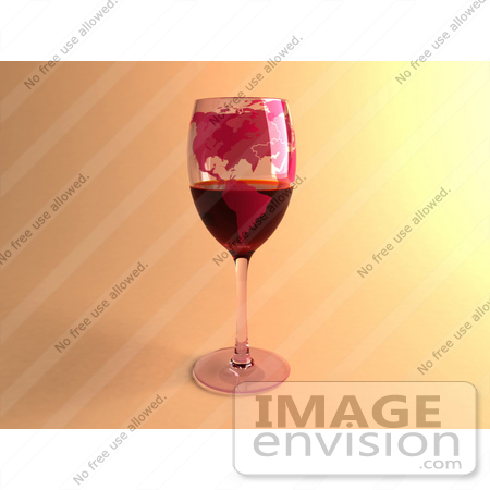 #60852 Royalty-Free (RF) Illustration Of A 3d Glass Of Red Wine With North American Continents Printed On The Glasss - Version 1 by Julos