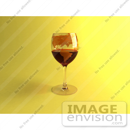 #60855 Royalty-Free (RF) Illustration Of A 3d Glass Of Red Wine With A World Atlas Printed On The Glass - Version 1 by Julos