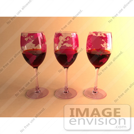 #60860 Royalty-Free (RF) Illustration Of Three 3d Glasses Of Red Wine With Continents On The Glass - Version 2 by Julos