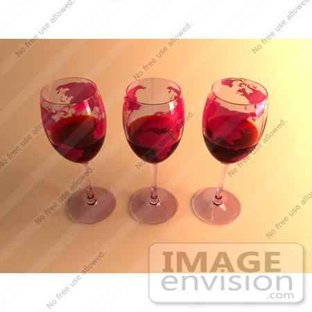 #60861 Royalty-Free (RF) Illustration Of Three 3d Glasses Of Red Wine With Continents On The Glass - Version 3 by Julos