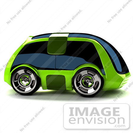 #60868 Royalty-Free (RF) Illustration Of A 3d Futuristic Green Concept Car With Tinted Windows - Version 4 by Julos