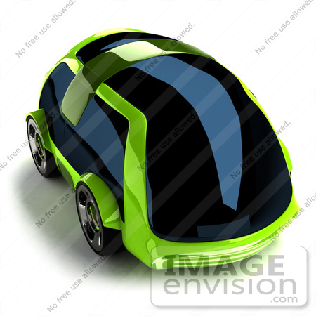 #60870 Royalty-Free (RF) Illustration Of A 3d Futuristic Green Concept Car With Tinted Windows - Version 3 by Julos