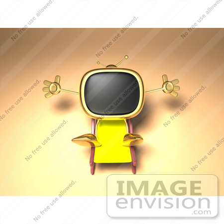 #60897 Royalty-Free (RF) Illustration Of A 3d Golden Television Character Sun Bathing - Version 2 by Julos