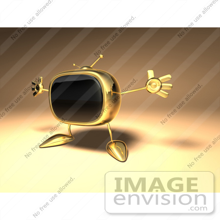 #60898 Royalty-Free (RF) Illustration Of A 3d Golden Television Character Holding His Arms Open - Version 1 by Julos