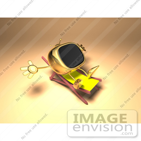 #60900 Royalty-Free (RF) Illustration Of A 3d Golden Television Character Sun Bathing - Version 1 by Julos