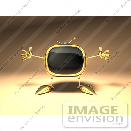 #60902 Royalty-Free (RF) Illustration Of A 3d Golden Television Character Holding His Arms Open - Version 2 by Julos