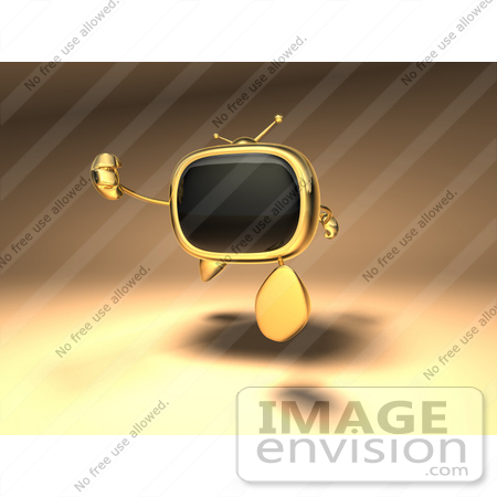 #60903 Royalty-Free (RF) Illustration Of A 3d Golden Television Character Running - Version 1 by Julos