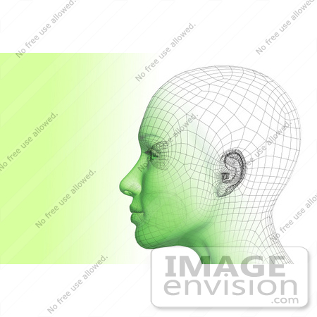 #60904 Royalty-Free (RF) Illustration Of A Futuristic Wire Frame Female Head Diagram Looking Left - Version 2 by Julos