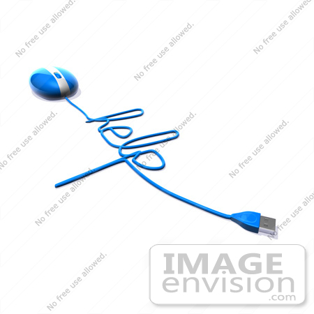 #60922 Royalty-Free (RF) Illustration Of A 3d Blue Computer Mouse With Cable Spelling HELP - Version 3 by Julos
