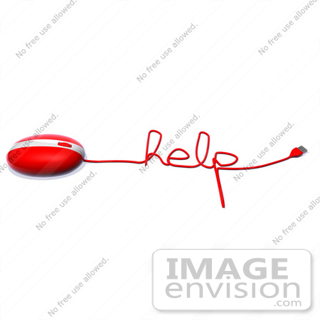 #60923 Royalty-Free (RF) Illustration Of A 3d Red Computer Mouse With Cable Spelling HELP - Version 1 by Julos