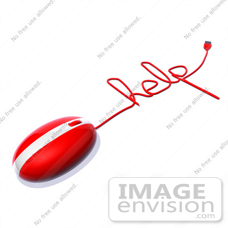 #60925 Royalty-Free (RF) Illustration Of A 3d Red Computer Mouse With Cable Spelling HELP - Version 2 by Julos