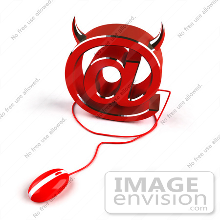 #60928 Royalty-Free (RF) Illustration Of A 3d Devil Arobase Symbol With A Red Computer Mouse - Version 2 by Julos