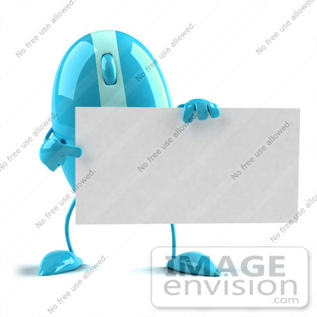 #60936 Royalty-Free (RF) Illustration Of A 3d Blue Computer Mouse Character Holding A Blank Business Card - Version 3 by Julos