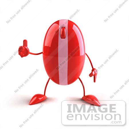 #60938 Royalty-Free (RF) Illustration Of A 3d Red Computer Mouse Character Giving The Thumbs Up by Julos