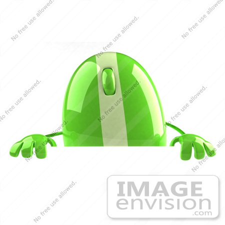 #60939 Royalty-Free (RF) Illustration Of A 3d Green Computer Mouse Character Standing Behind A Blank Sign by Julos