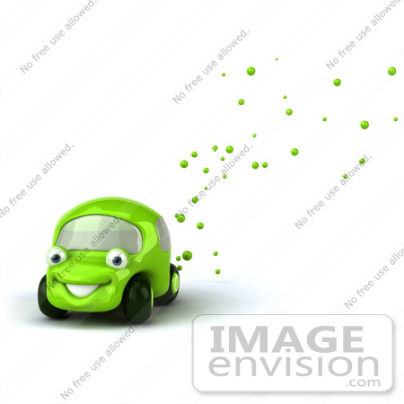 #60944 Royalty-Free (RF) Illustration Of A 3d Green Car Character Emitting Bubbles From The Exhaust by Julos