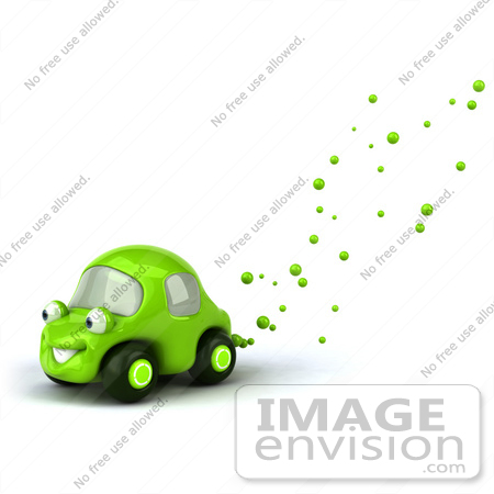 #60945 Royalty-Free (RF) Illustration Of A 3d Green Car Character With Bubbles Flowing From The Exhaust by Julos