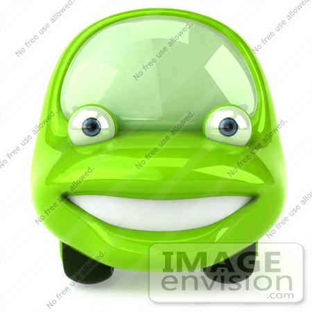 #60946 Royalty-Free (RF) Illustration Of A 3d Green Car Character Facing Front And Smiling by Julos