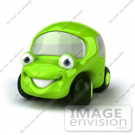 #60950 Royalty-Free (RF) Illustration Of A 3d Green Car Character Facing Left And Smiling - Version 1 by Julos