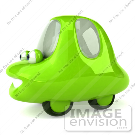 #60951 Royalty-Free (RF) Illustration Of A 3d Green Car Character Facing Left And Smiling - Version 3 by Julos
