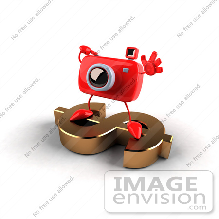 #60956 Royalty-Free (RF) Illustration Of A 3d Red Camera Boy Character Standing On A Gold Dollar Symbol - Version 4 by Julos