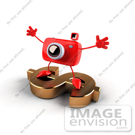 #60957 Royalty-Free (RF) Illustration Of A 3d Red Camera Boy Character Standing On A Gold Dollar Symbol - Version 2 by Julos