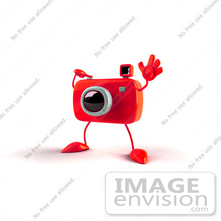 #60958 Royalty-Free (RF) Illustration Of A 3d Red Camera Boy Character Waving - Version 2 by Julos