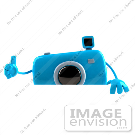 #60964 Royalty-Free (RF) Illustration Of A 3d Blue Camera Boy Character Giving The Thumbs Up And Standing Behind A Blank Sign by Julos