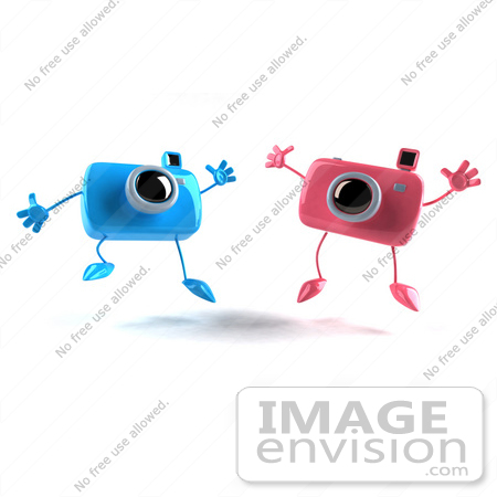 #60969 Royalty-Free (RF) Illustration Of Two 3d Pink And Blue Camera Boy And Girl Mascots Jumping - Version 1 by Julos