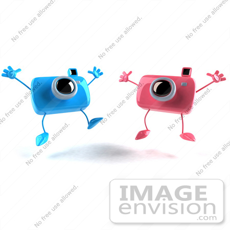 #60970 Royalty-Free (RF) Illustration Of Two 3d Pink And Blue Camera Boy And Girl Mascots Jumping - Version 2 by Julos