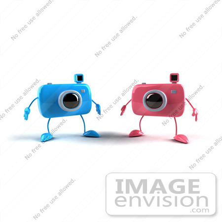 #60971 Royalty-Free (RF) Illustration Of Two 3d Blue And Pink Camera Boy Mascots by Julos