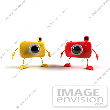#60972 Royalty-Free (RF) Illustration Of Two 3d Yellow And Red Camera Boy Mascots by Julos