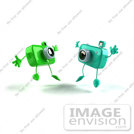 #60976 Royalty-Free (RF) Illustration Of Two 3d Green Camera Boy Characters Jumping - Version 2 by Julos