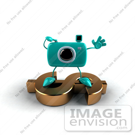 #60979 Royalty-Free (RF) Illustration Of A 3d Turquoise Camera Boy Character Standing On A Gold Dollar Symbol - Version 5 by Julos