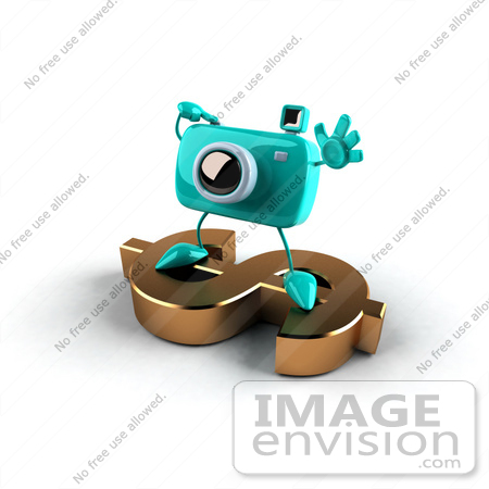 #60981 Royalty-Free (RF) Illustration Of A 3d Turquoise Camera Boy Character Standing On A Gold Dollar Symbol - Version 1 by Julos
