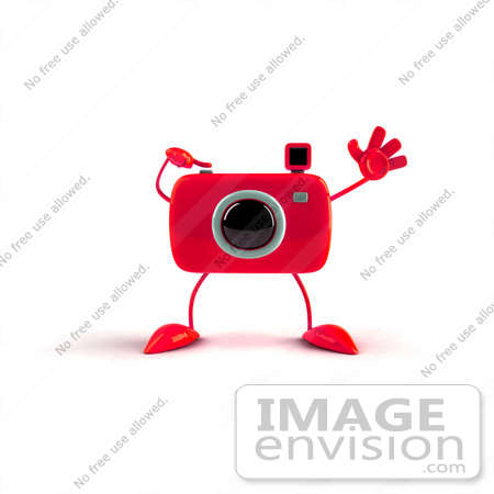 #60994 Royalty-Free (RF) Illustration Of A 3d Red Camera Boy Character Waving - Version 1 by Julos