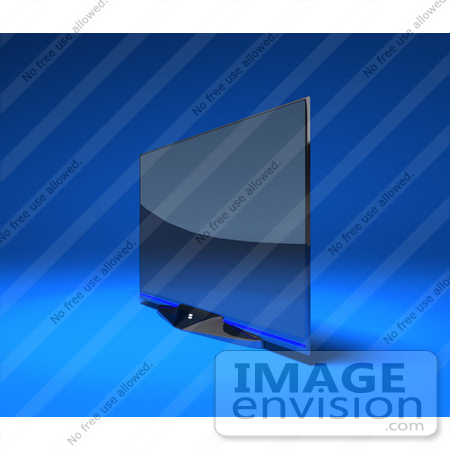 #60999 Royalty-Free (RF) Illustration Of A Slim, Flat 3d Plasma Television Screen On A Mount - Version 4 by Julos