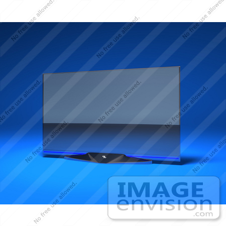 #61002 Royalty-Free (RF) Illustration Of A Slim, Flat 3d Plasma Television Screen On A Mount - Version 1 by Julos