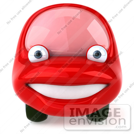#61024 Royalty-Free (RF) Illustration Of A 3d Red Car Character Facing Front And Smiling by Julos