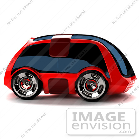 #61030 Royalty-Free (RF) Illustration Of A 3d Futuristic Aerodynamic Red Car With Tinted Windows - Version 3 by Julos
